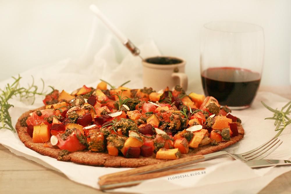 PIZZA SEM FARINHA – De Abóbora com Pesto de Alecrim